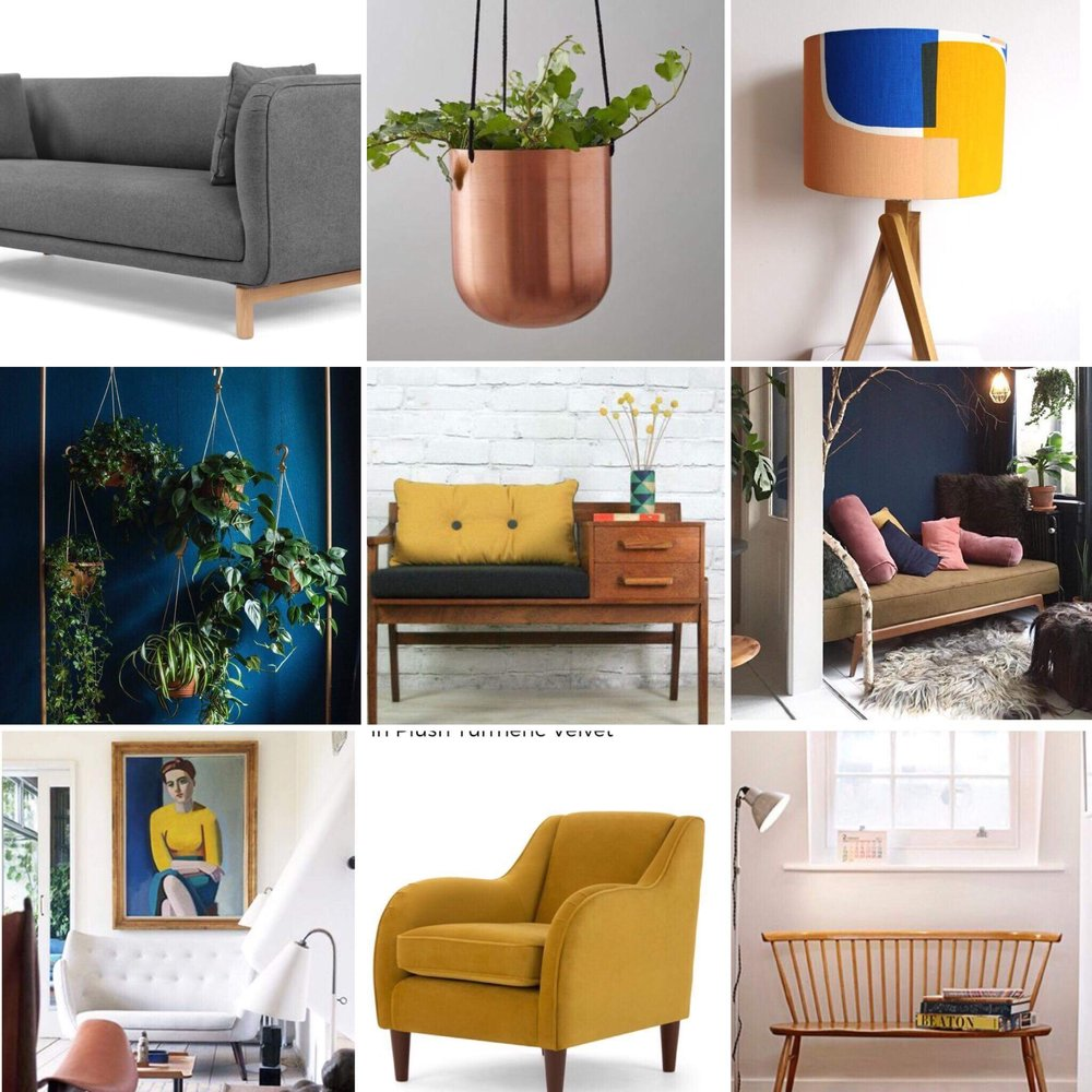 A moodboard that I created with the help of Pinterest for our snug room.  It's going to be a dark painted room but I still want it to feel fresh and modern.  The lamp is by Midlands designer Sarah Fennel ( sarahfennell.bigcartel.com/ ).  I love her bold prints and use of colour.