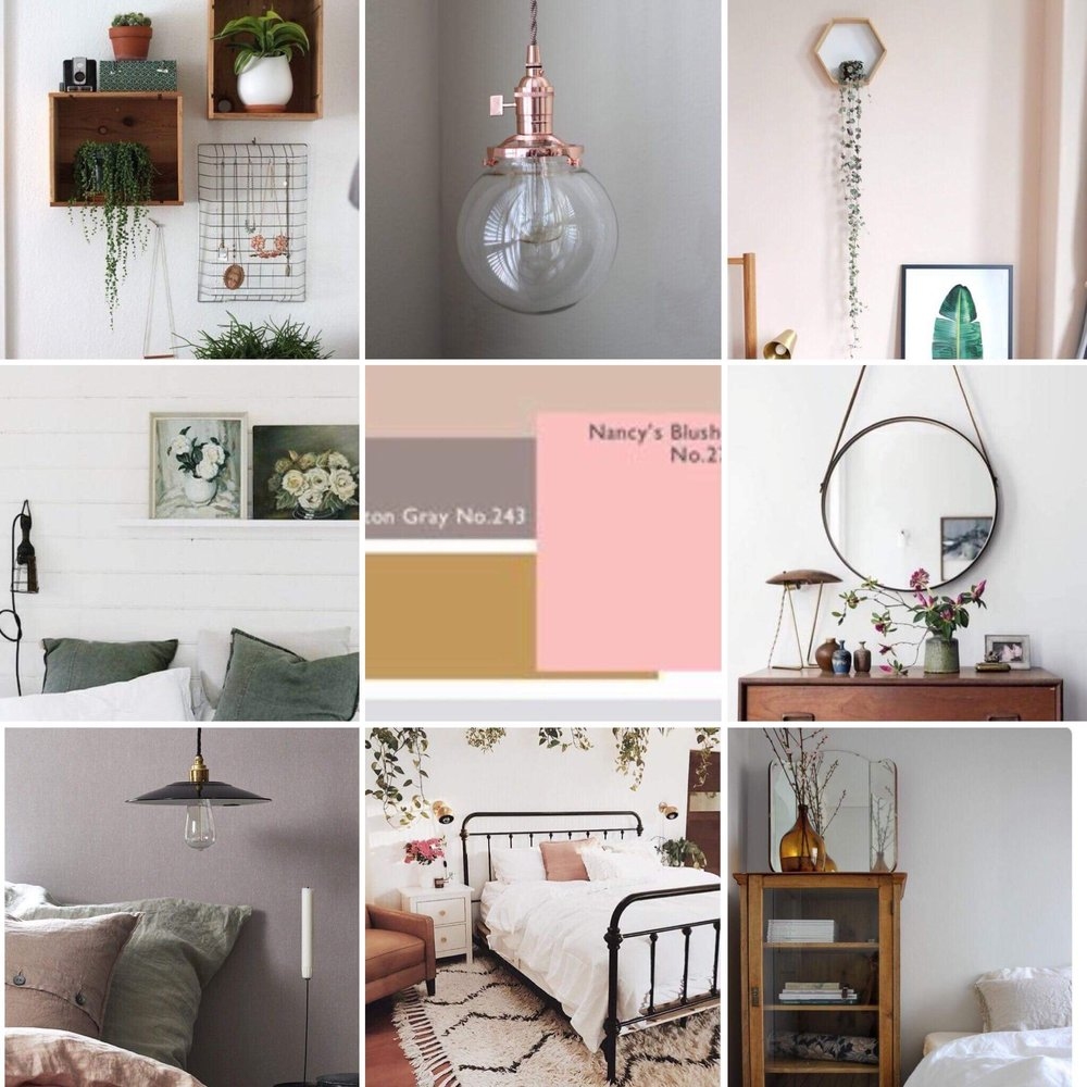 This moodboard from Pinterest is for the spare room.  I have been inspired by the soft colour of the bare plastered walls.  I want this room to feel very cosy and calm. I will revisit my boards several times before I make a final decision.  It also helps me to explain my ideas to my husband clearly.