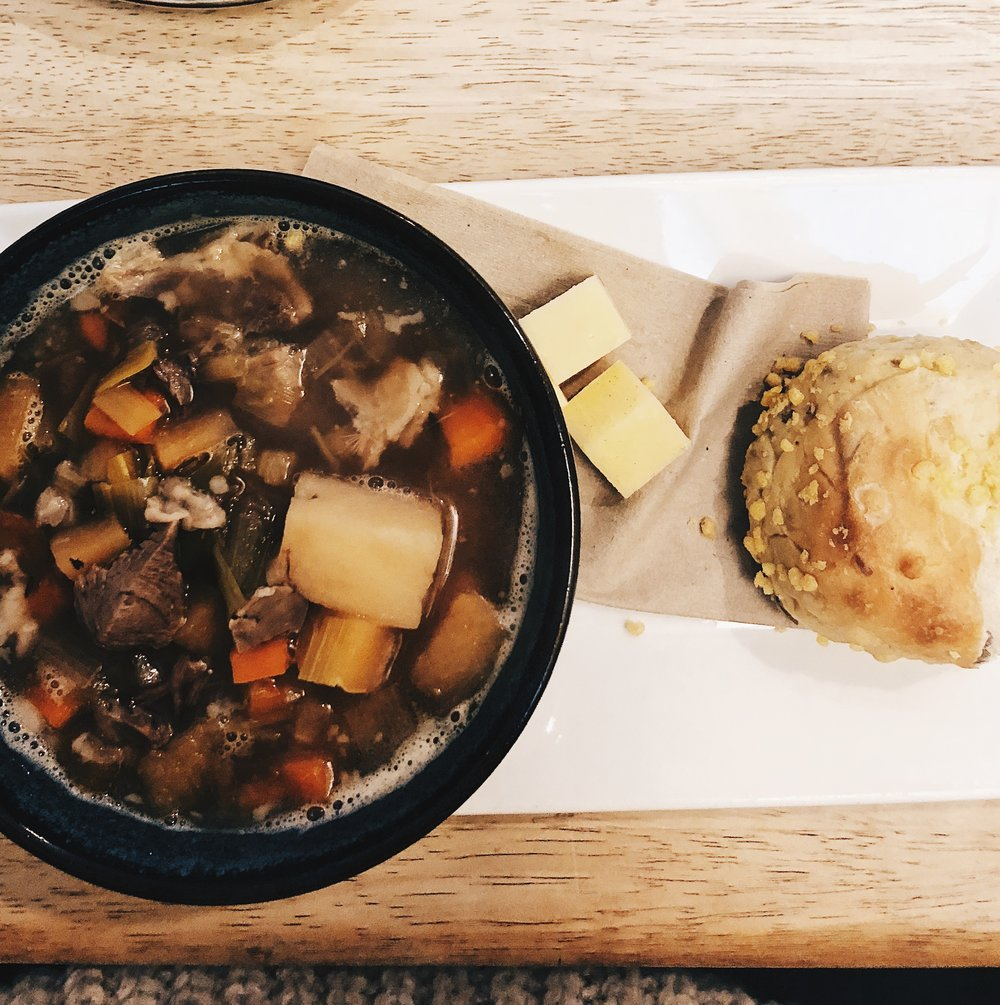 The hearty and delicious Lamb Cawl from The Meadow. A fabulous, ethical cafe in the heart of St David's.