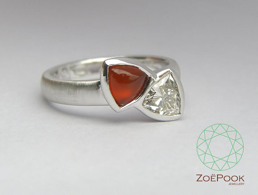 Fairtrade 18ct White gold band with a Brazlian carnelian (custom cut) and client's own diamond