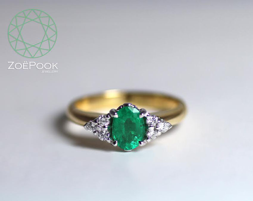 Fairtrade 18ct gold with emerald and diamonds