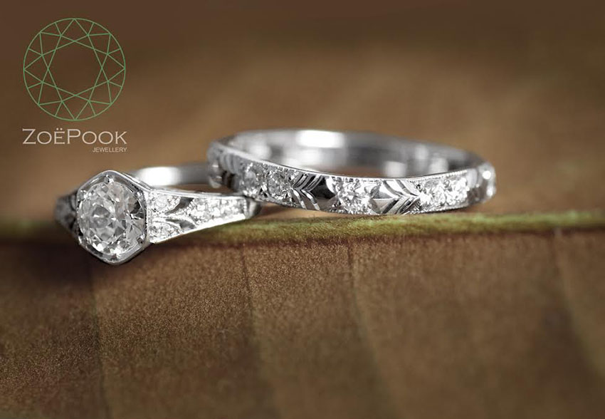 Bespoke wedding band made to match client's vintage engagement ring, Fairtrade 18ct white gold with diamonds and hand engraved