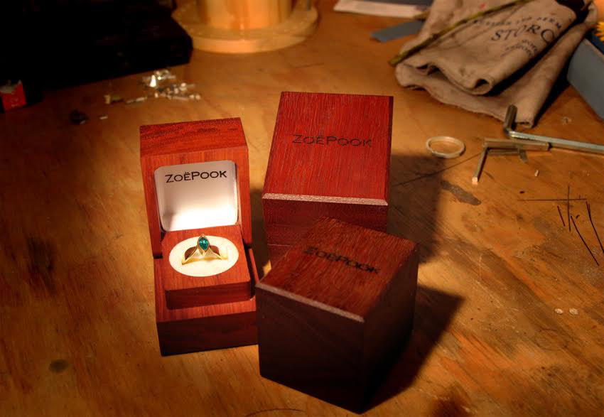 Zoë Pook  Jewellery ring boxes hand made by GIVE Packaging in New Zealand, from sustainable timbers