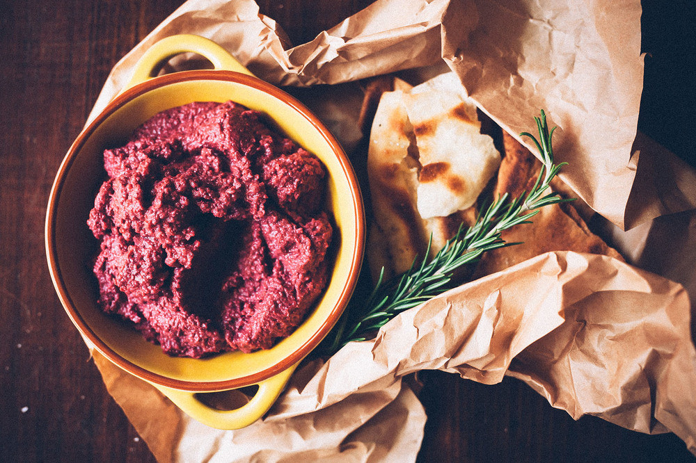 Pilpel Beetroot and Almond dip, smooth and creamy in texture, simply beautiful.
