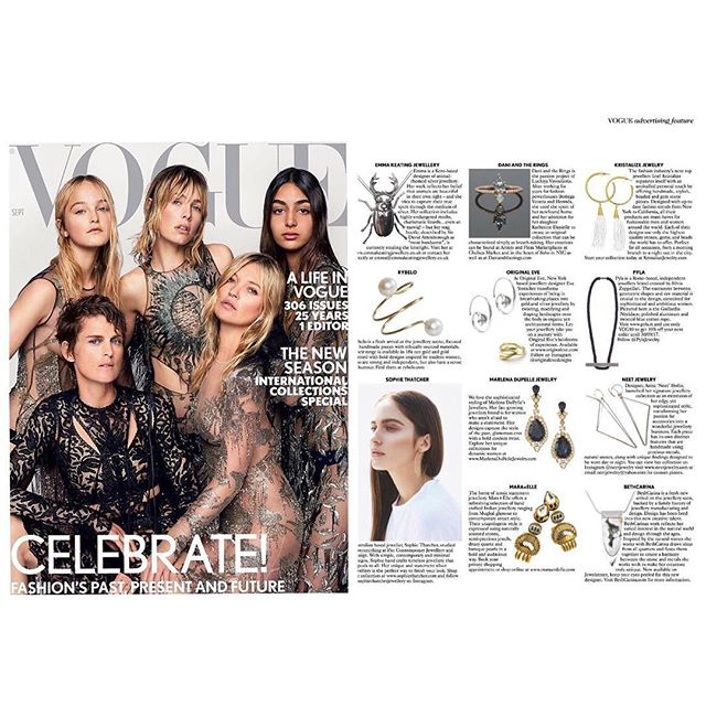 @britishvogue September issue featuring @sophiethatcherjewellery #britishvogue