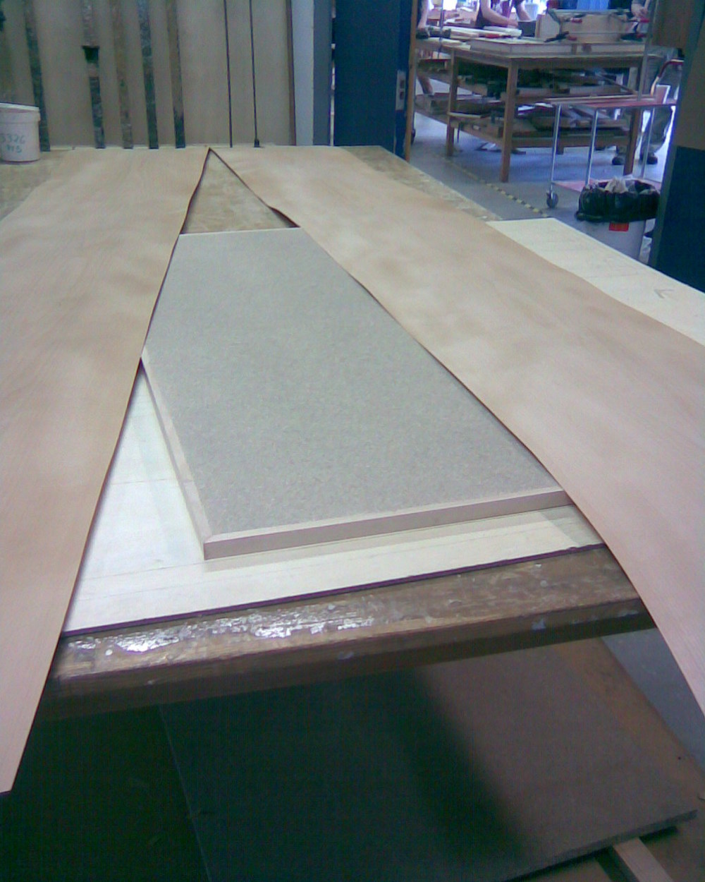 March '13 / Cabinet Maker School / Copenhagen Desk project. Laying beech veneer and edge boards