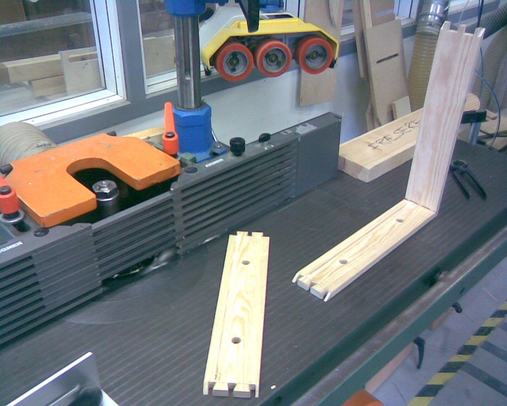 February '13 / Cabinet Maker School / Copenhagen Cabinet project - Milling the pieces for the bottom to fit.