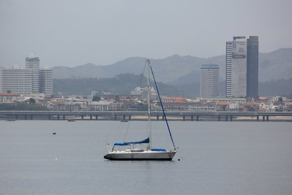 SV Chuffed in Panama... doesn't she have some fine lines!