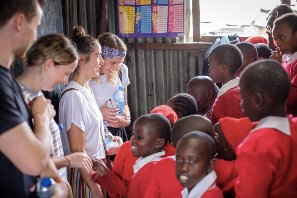 Leanne meets students at a Five Talents project in Nakuru, Kenya.