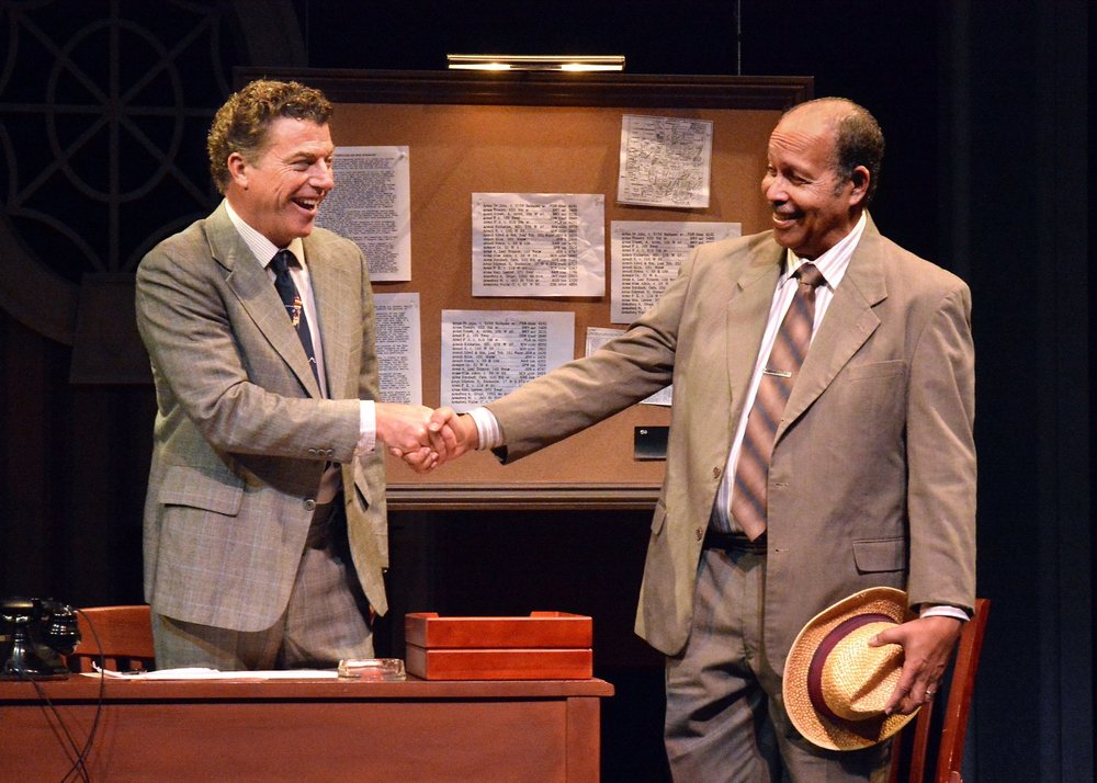 David Nevell (Boolie) and Lance Nichols (Hoke) in Driving Miss Daisy.