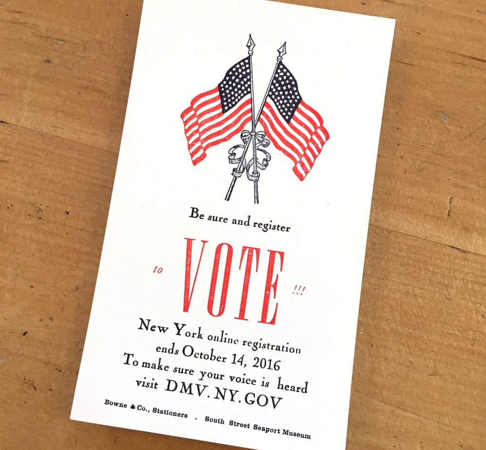 Bowne & Co. Stationers flyers get out the vote