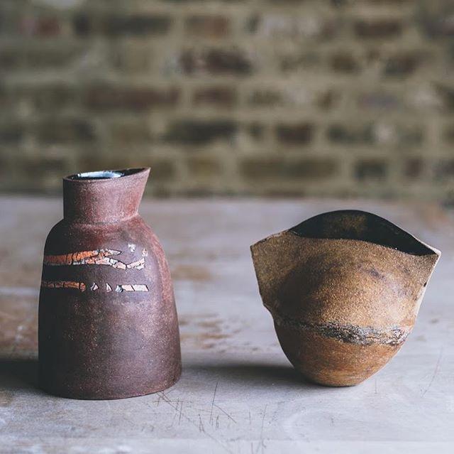 Vessels by long-standing member of our Hoxton studios, @jillymartin, photo @arturrummel #stoneware #stonewarejug #vessel #instaceramics #vase #ceramicvase