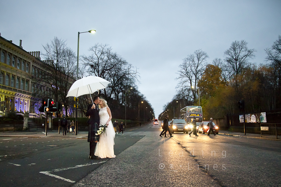 Graham and Helen, outside their wedding at Oran Mor