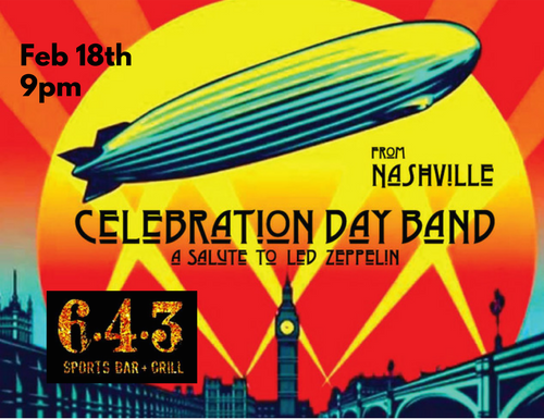 The Celebration Day Band is a salute to Led Zeppelin--based in Nashville & skillfully covering some of the greatest rock music of all time! This is one show you're going to want to catch!