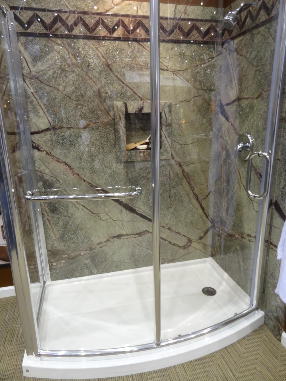 curved glass enclosure acrylic base lowes bathtub shower units diy bathroom remodel and lowes