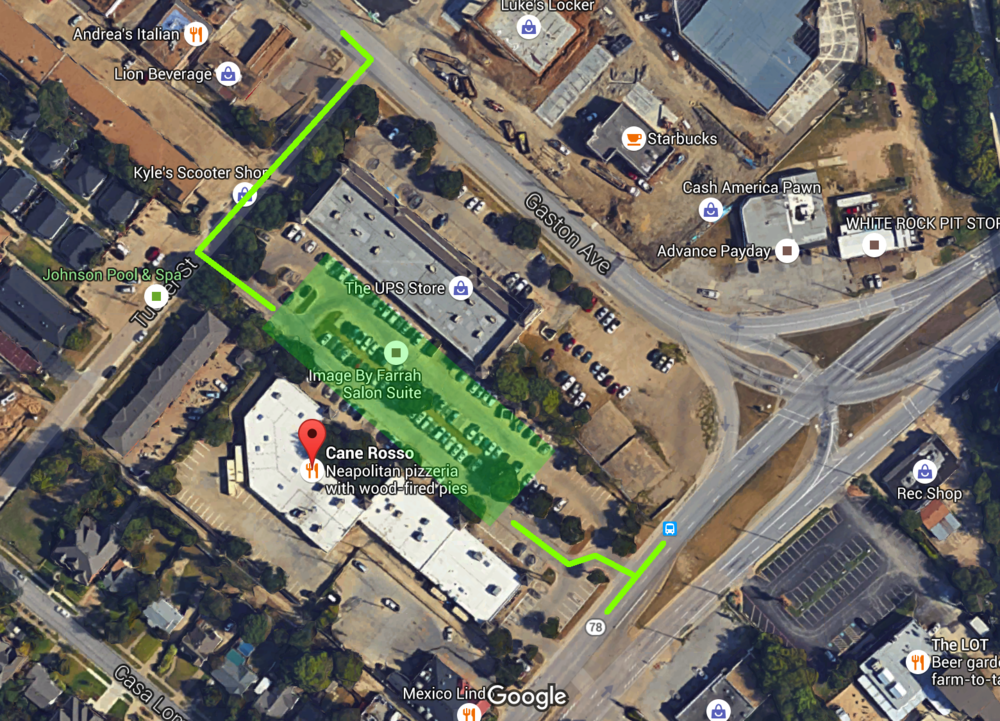 Parking entrances are located on Grand Ave, 1 block SW of Gaston, or just off Tucker St.
