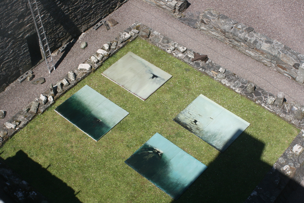 Installing 'Entrophy & Relic' exhibition at Sherkin Abbey, Sherkin Island, West Cork in 2012.