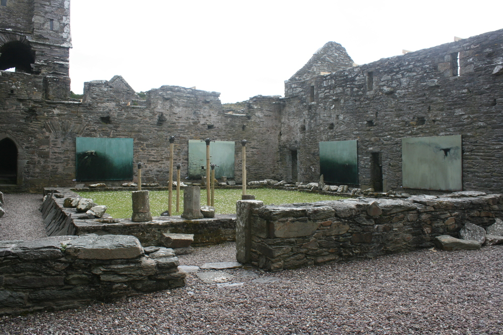 'Entrophy & Relic' paintings hung inside Sherkin Abbey, Sherkin Island, West Cork in 2012.
