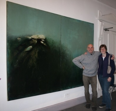 Donagh Carey's sister, Mary Carey, visits 'Ascension - Tribute to Skelligs' at Origin Gallery, Dublin in 2012.