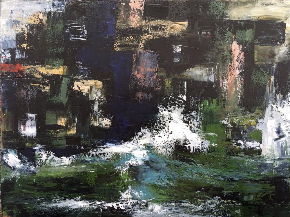 Breaking Waves lll , Skelligs Series, oil on board, 23cm x 30cm, 2015