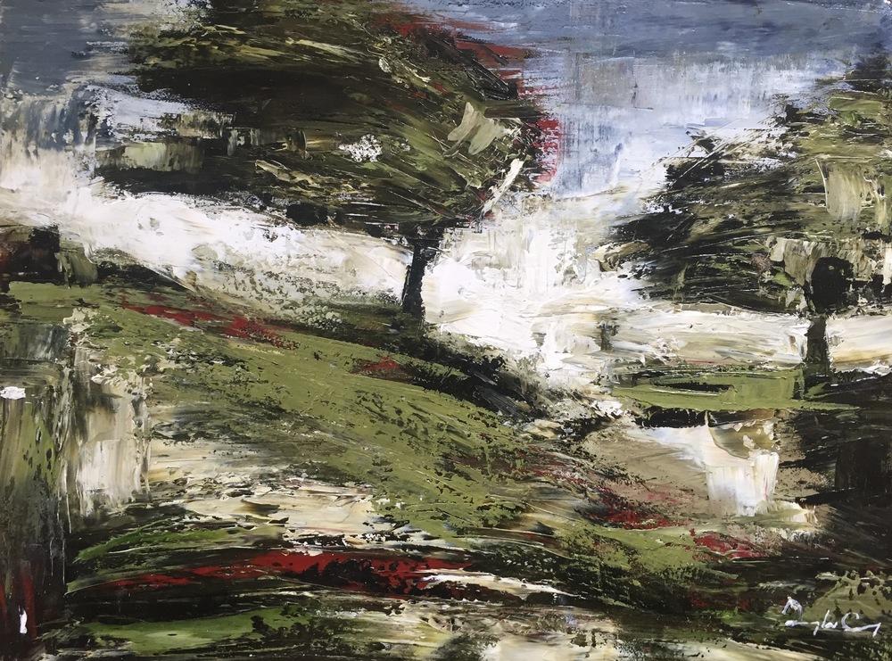 Orchard , oil on board, 23cm x 30cm, 2016