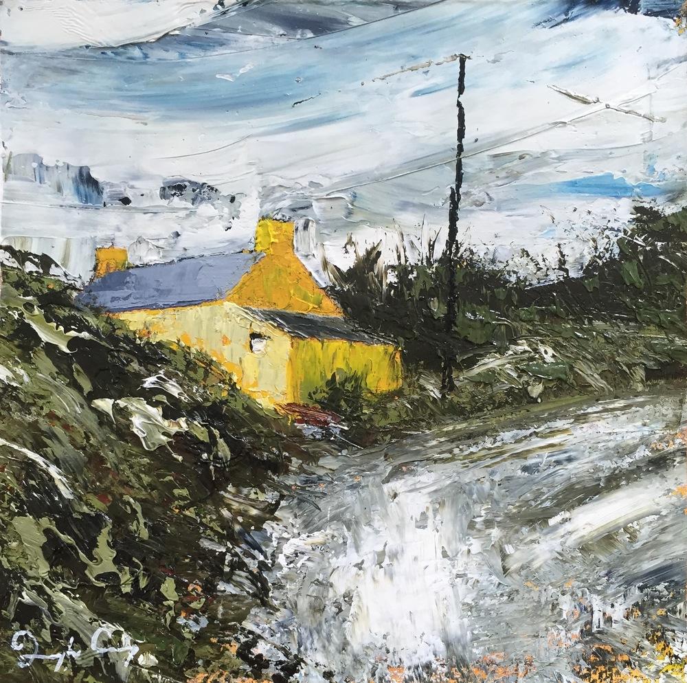 Yellow House, Gunpoint , oil on board, 15cm x 15cm, 2016