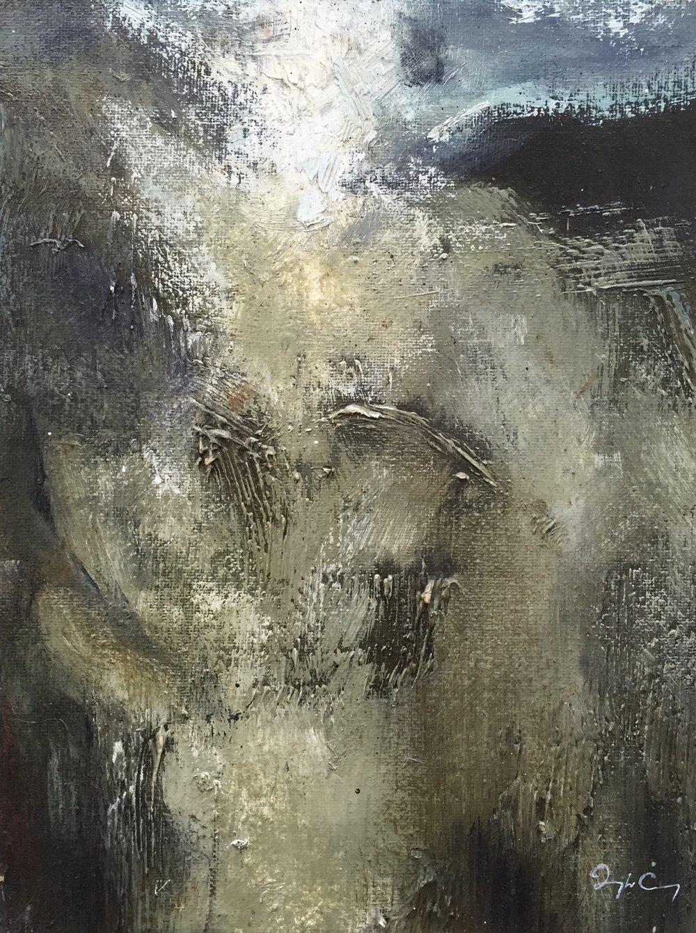Sun Splitting The Summit, Skellig Michael  Painting 23cm x 30cm. Frame 41cm x 49cm. Oil on canvas on board. Sister Painting to 'Approaching Skellig Michael'. €sold