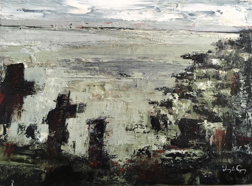 Sentinel, Skellig Michael  Painting 23cm x 30cm. Frame 41cm x 49cm. Oil on board. €595