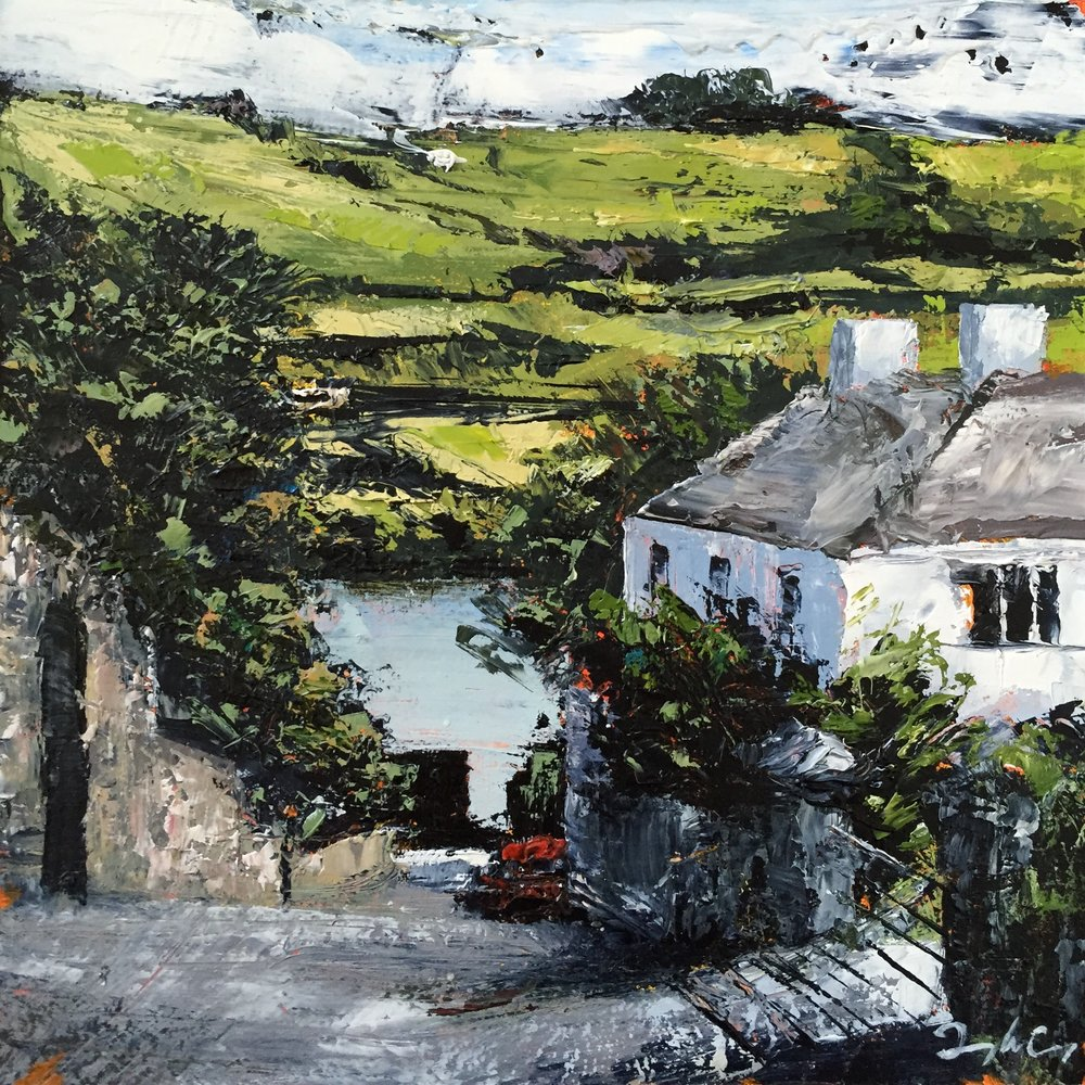 Carbery's Lane Rosscarbery , oil on board, Painting 15cm x 15cm, Framed 40cm x 40cm