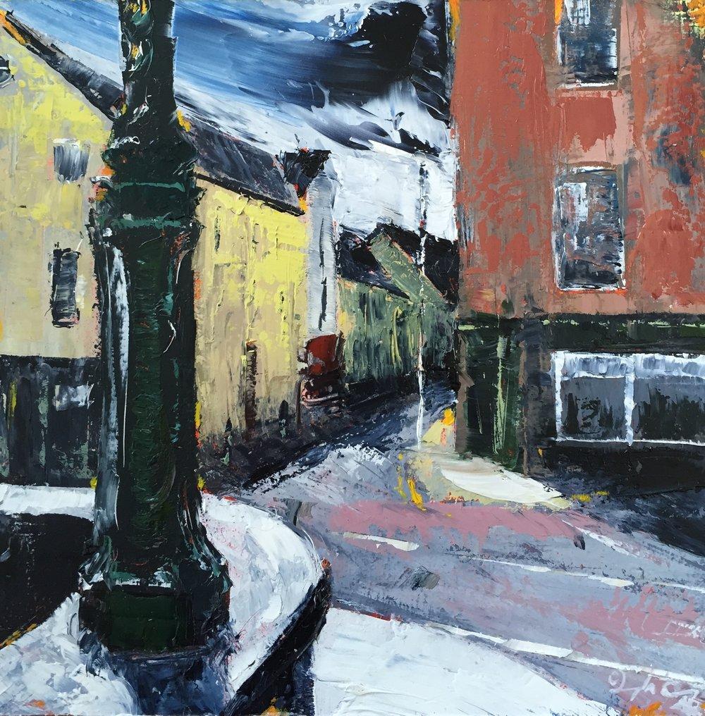 Mary's Street Meets Sullivan's Quay, Cork ll  Oil on board, Painting 15cm x 15cm, Frame 40cm x 40cm €295