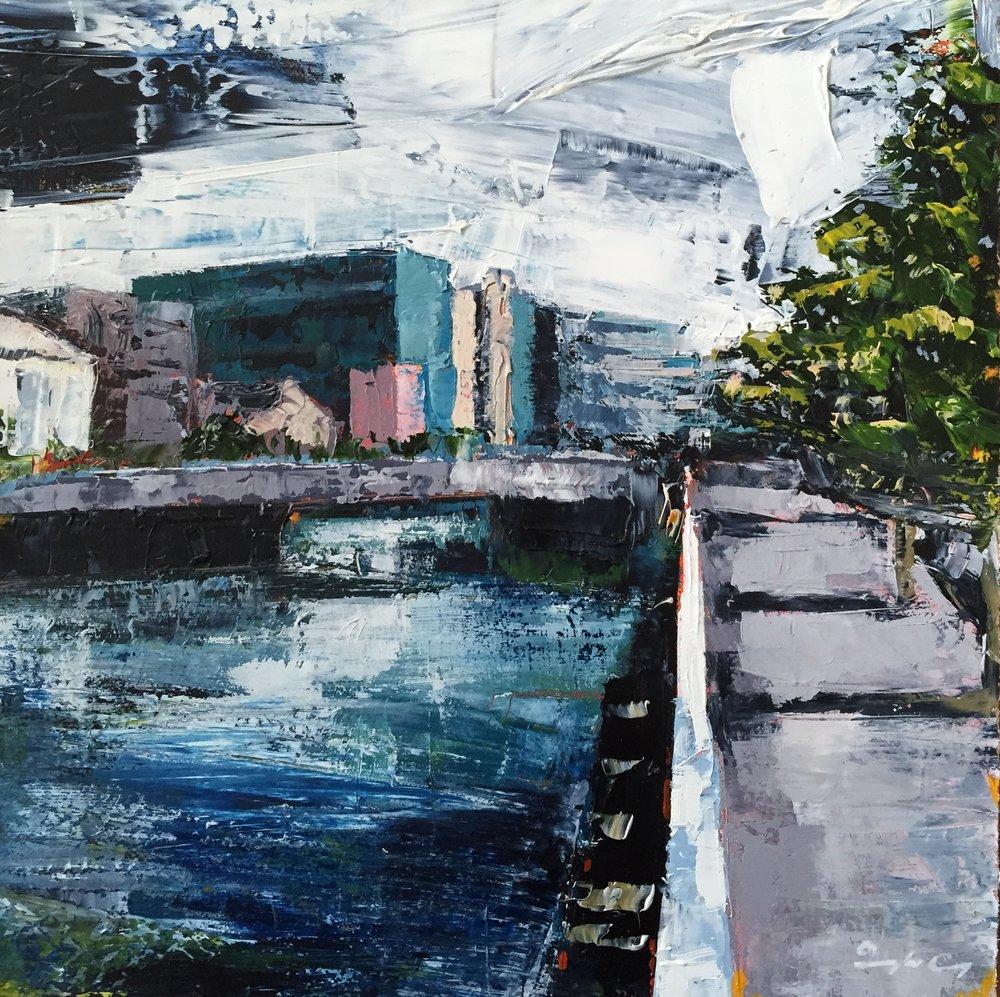 Parnell Bridge, Cork  Oil on board, Painting 15cm x 15cm, Frame 40cm x 40cm €sold