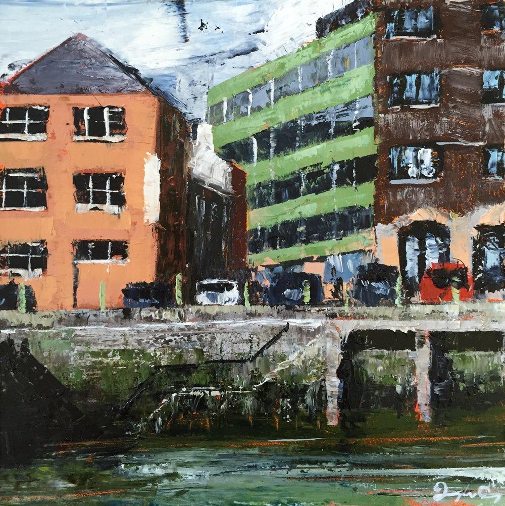 Morrison's Quay, Cork  Oil on board, Painting 15cm x 15cm, Frame 40cm x 40cm €295