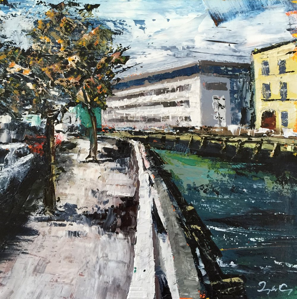 Union Quay, Cork  Oil on board, Painting 15cm x 15cm, Frame 40cm x 40cm €295
