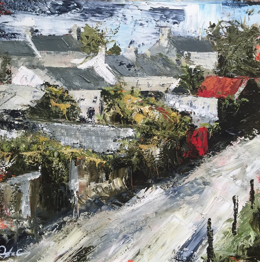 Roof Tops, Schull  oil on board. 15cm x 15cm 2016
