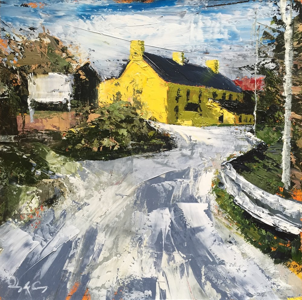 Leaving Schull, Copperpoint  oil on board. 15cm x 15cm