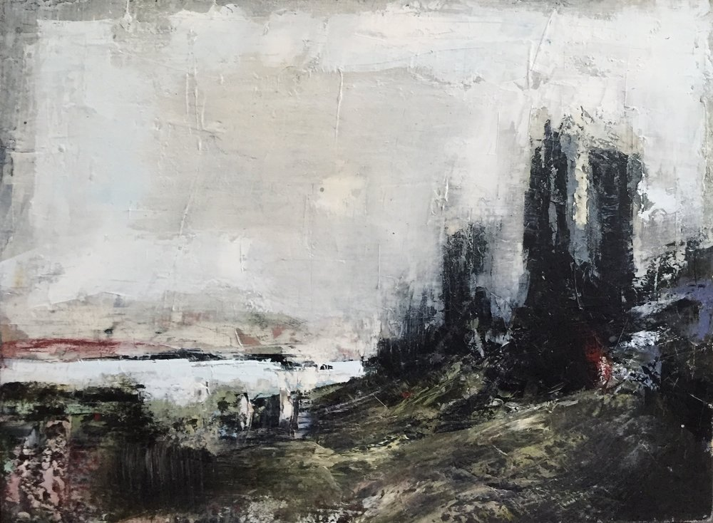 Three Towers  oil on board, painting 22cm x 30cm, frame 41cm x 49cm, €sold
