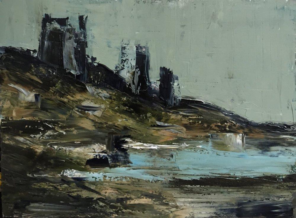 Eastwards   oil on board, painting 22cm x 30cm, frame 41cm x 49cm, €595