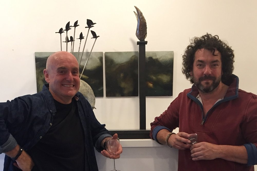 Donagh Carey with sculptor Barry Linnane, whose bronze and metalwork sculptures are exhibited alongside Donagh's paintings