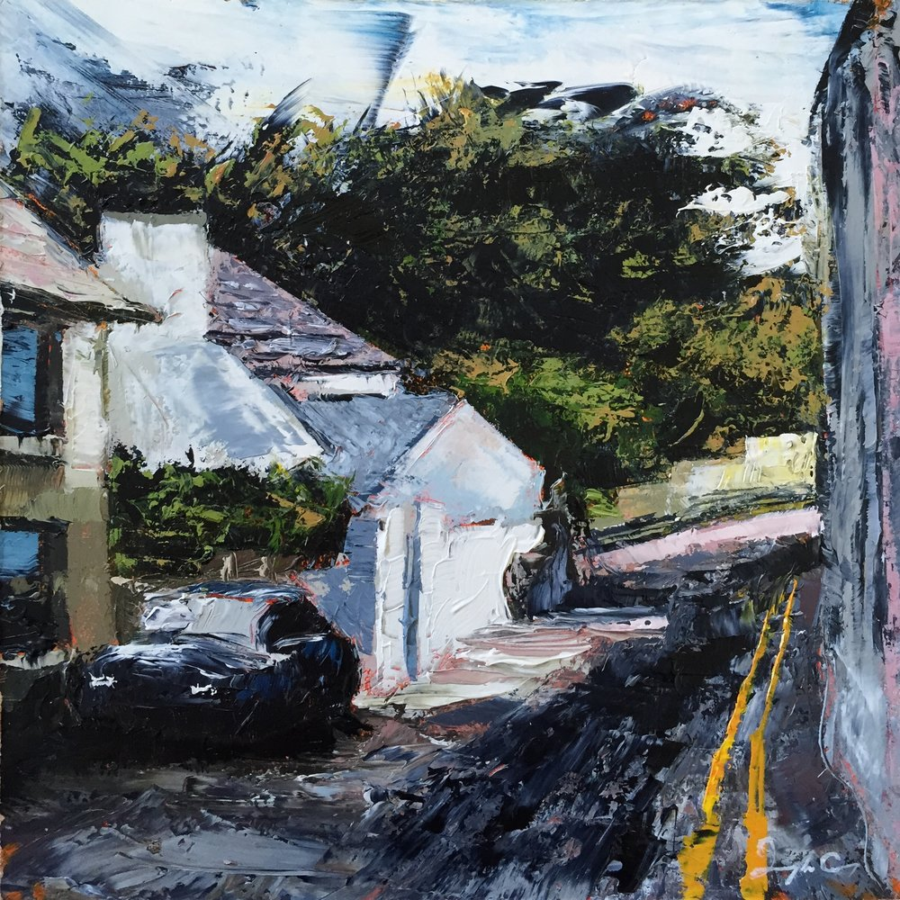 South Terrace, Schull  Painting 15cm x 15cm. Oil on board.