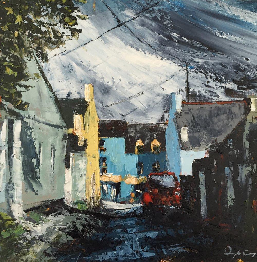 Towards Budds, Ballydehob  Painting 15cm x 15cm. Oil on board.