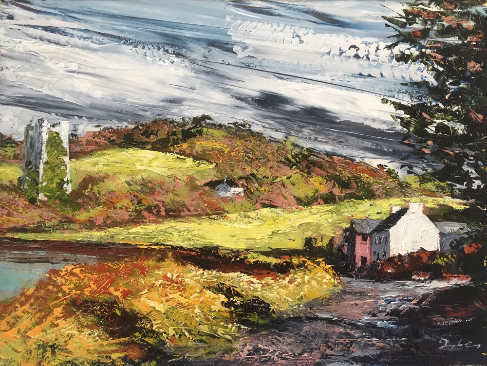 Raheen Castle  Painting 23cm x 30cm. Frame 47cm x 55cm. Oil on board.  €595