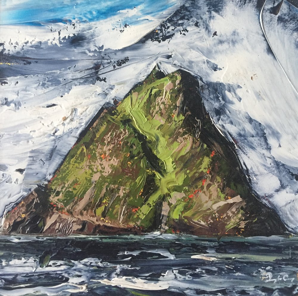 Skellig Michael Vlll  Painting 14cm x 14cm. Frame 40cm x 40cm. Oil on board.  €295
