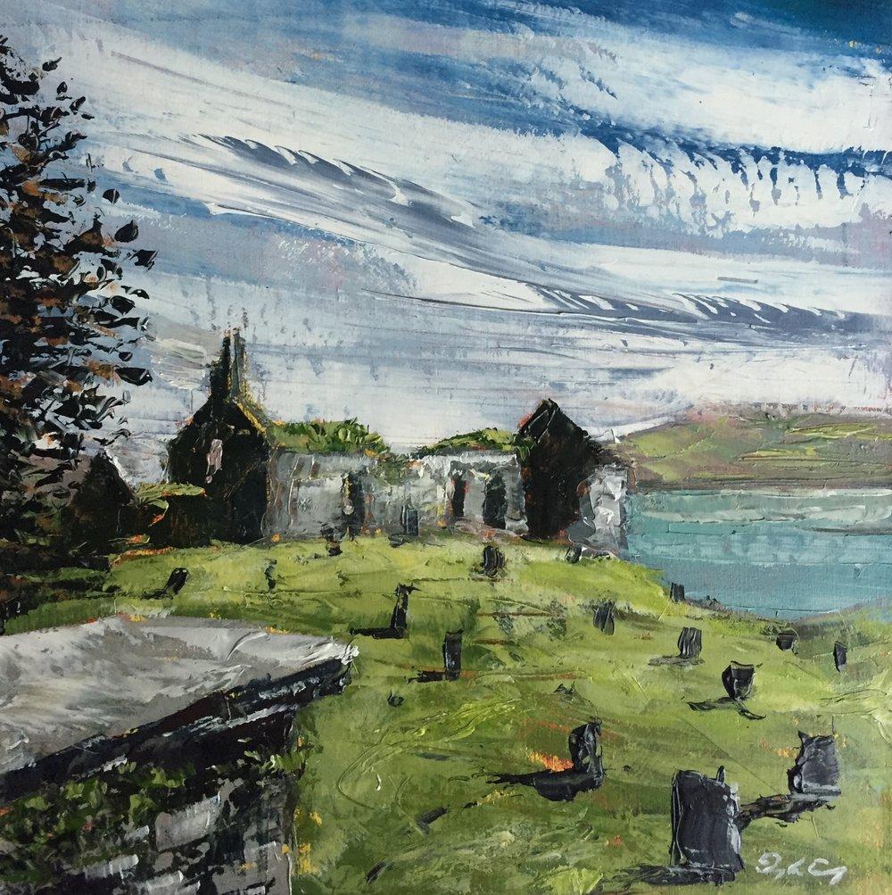 Church Ruin, Colla Road, Schull  Painting 15cm x 15cm. Oil on board.