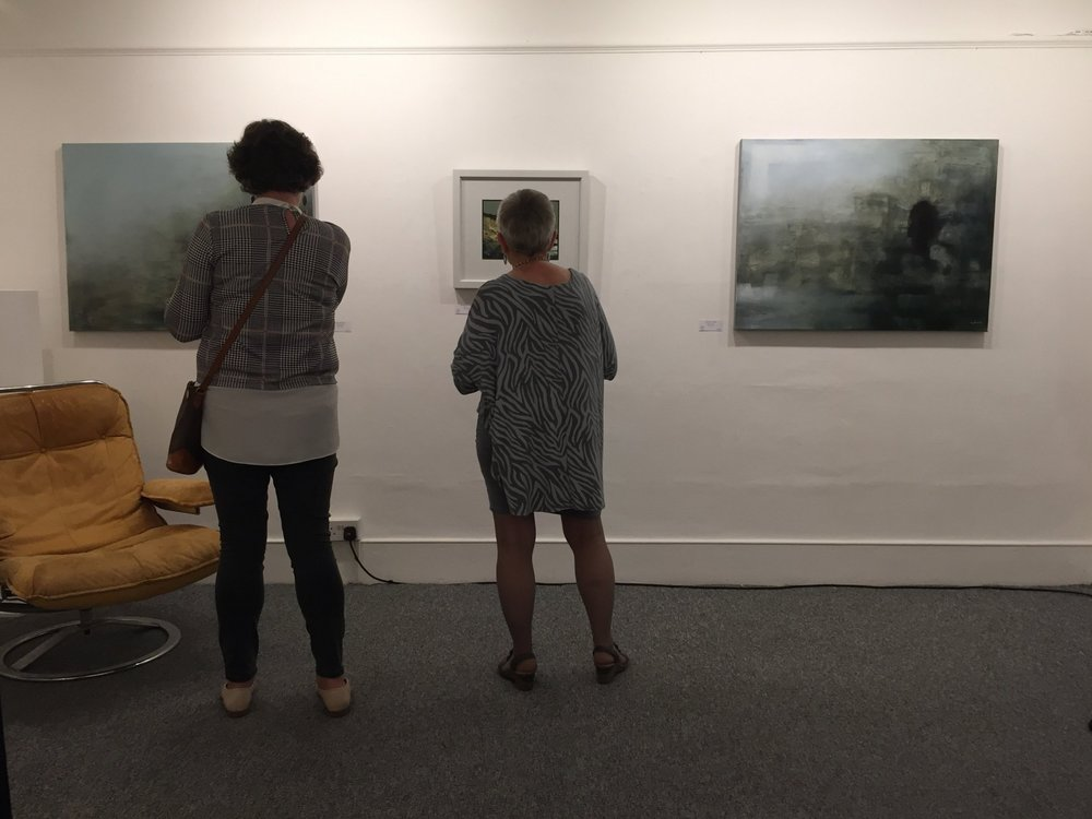 Three works from Donagh's Three Castles series at the exhibition opening night.