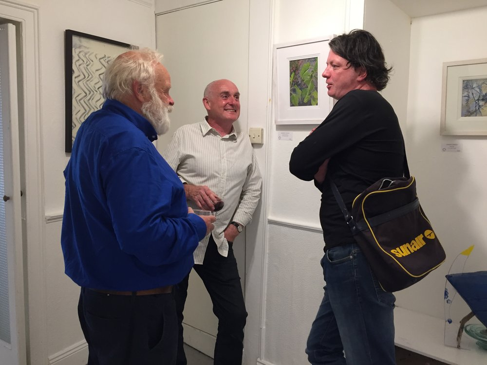 Ceramicist Jim Turner, Donagh Carey and artist Diarmuid Breen at the opening of Tribal exhibition.
