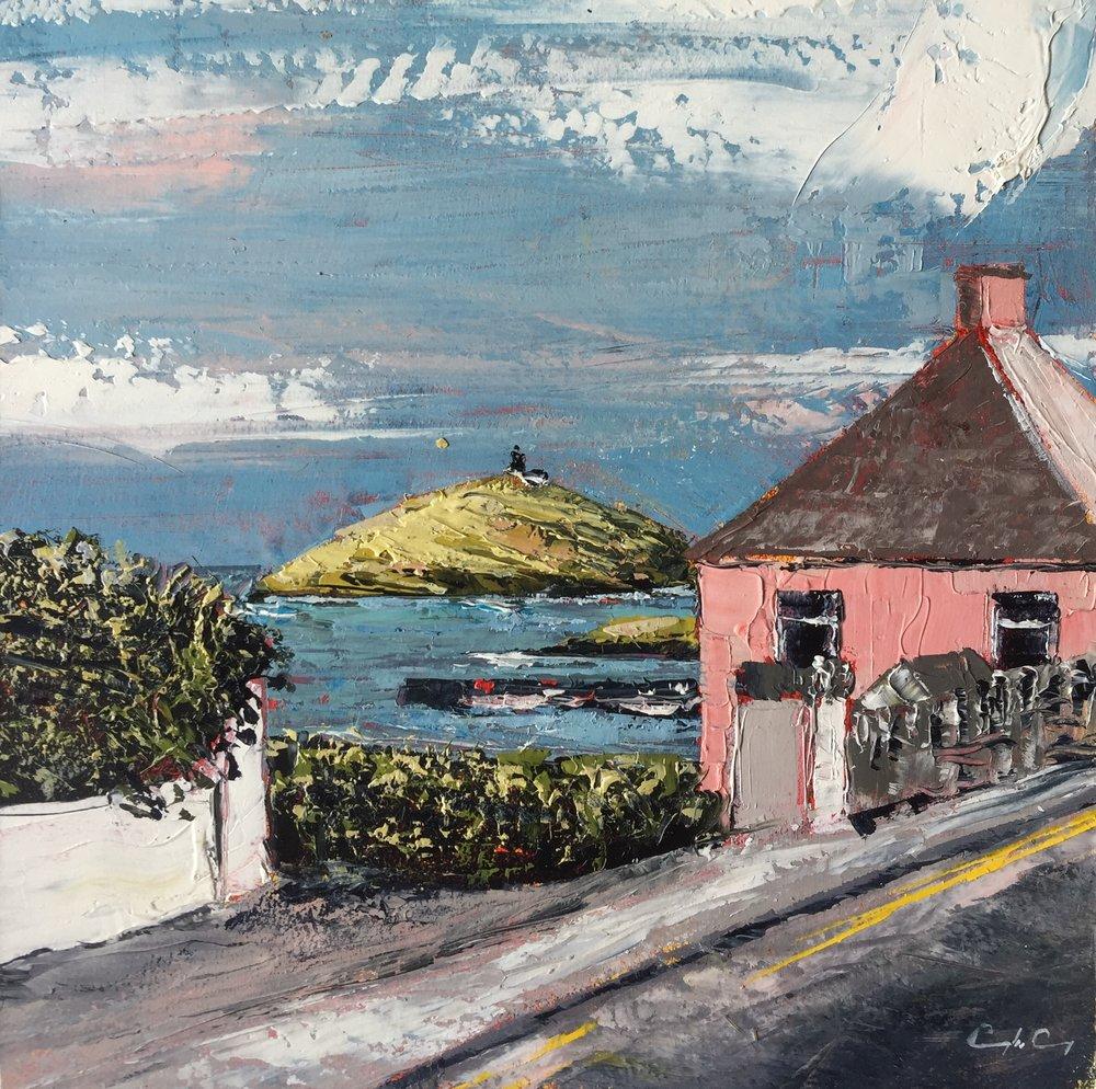 Ballycotton Village  Painting 15cm x 15cm. Frame 40cm x 40cm. Oil on board.  €295