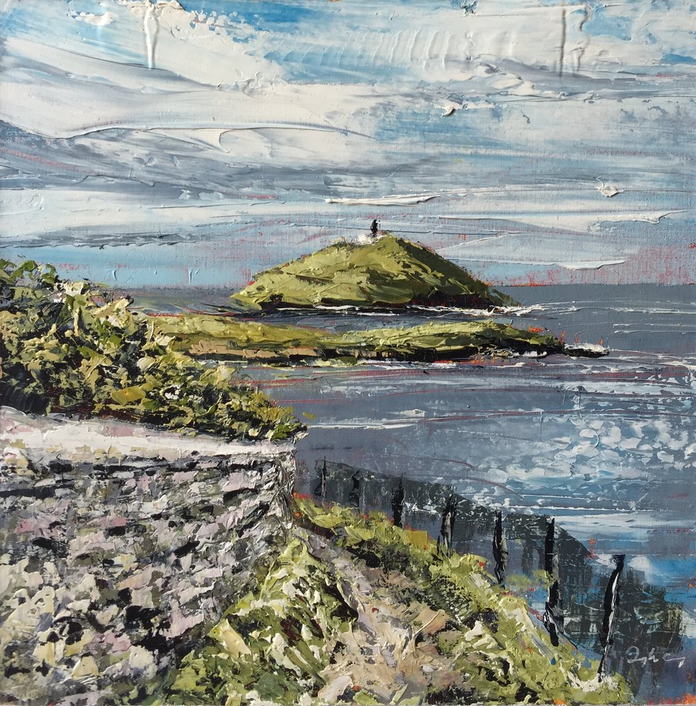 Ballycotton Lighthouse lll  Painting 15cm x 15cm. Frame 40cm x 40cm. Oil on board.  €295