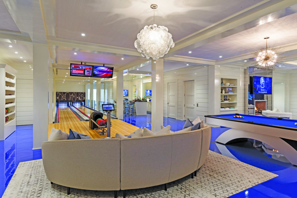 You won't be bored on the lower level with a two lane bowling alley, lounge with full bar and billiards
