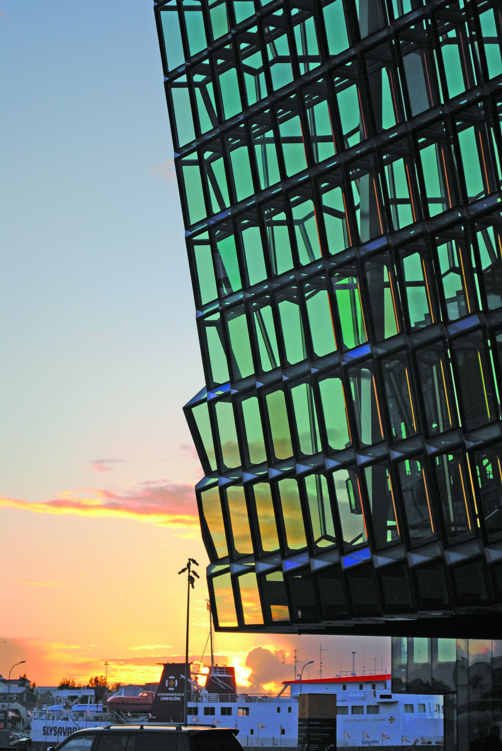 Harpa Concert hall on the Reykjavik waterfront