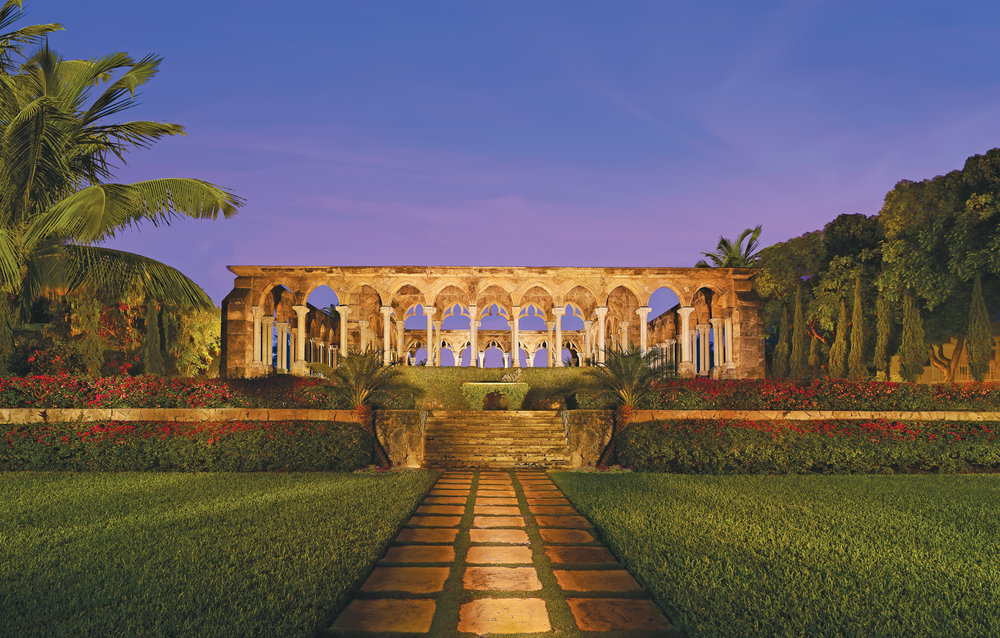 A 12th century Augustinian cloister crowns the Versailles-inspired gardens below with views of Nassau Harbor and the sea beyond.